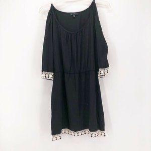 Glam Womens Dress Black Mini Scoop Neck Size M